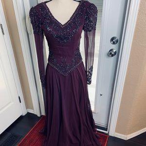 Jovani Gown Dress Silk Heavy Beading Sequins 4